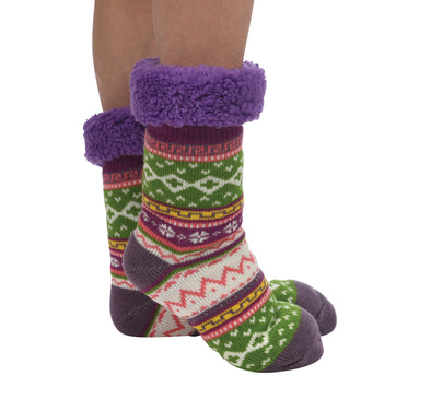 Purple Sherpa Bright Slipper Sock