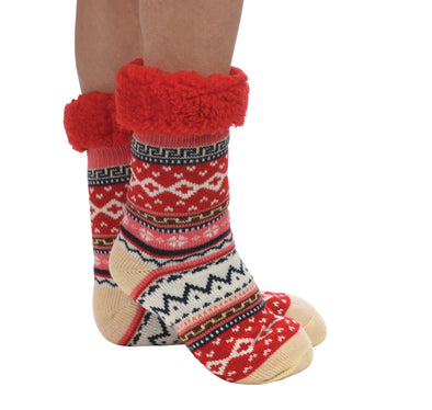 Red Sherpa Bright Slipper Sock