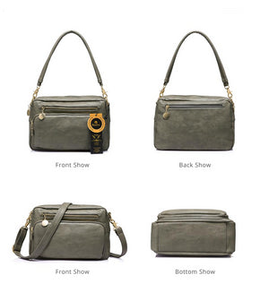 Ladies double zipper messenger bag