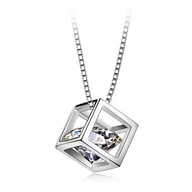 Diamond Crystal Cube Silver Necklace-Hykoshop