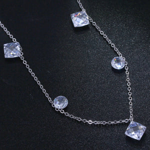 Clear White Crystal Pendant Necklace-necklace-Hykoshop
