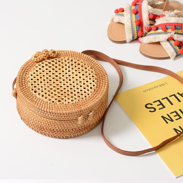 Round Style Straw Bag-bags-Hykoshop