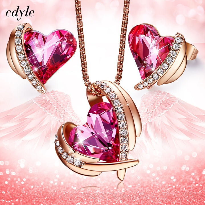 Swarovski Heart Angel Gold Jewelry Set-Hykoshop