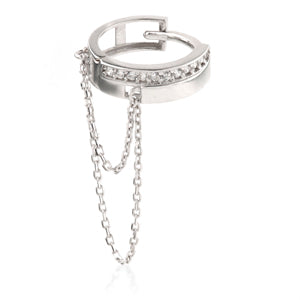 TISH LYON® - 14K Multi Gem and Chain Hinge Ring