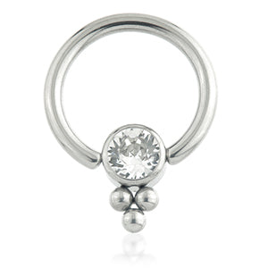 Single Gem ring attachment tri bead