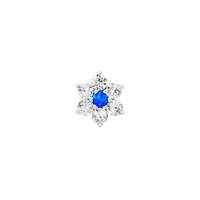 JUNIPURR JEWELRY GOLD FLOWER WITH SWAROVSKI AND BLUE OPAL