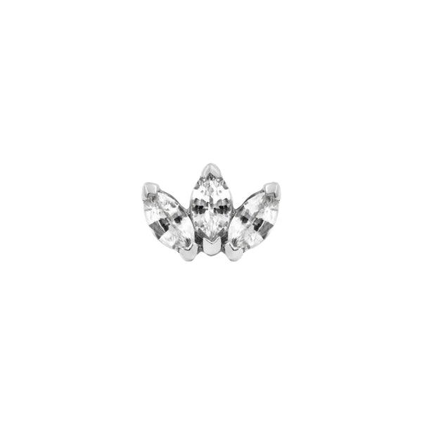 junipurr 14k white gold Triple Marquise with Cubic Zirconia Gem decorative end JJ1384-WG