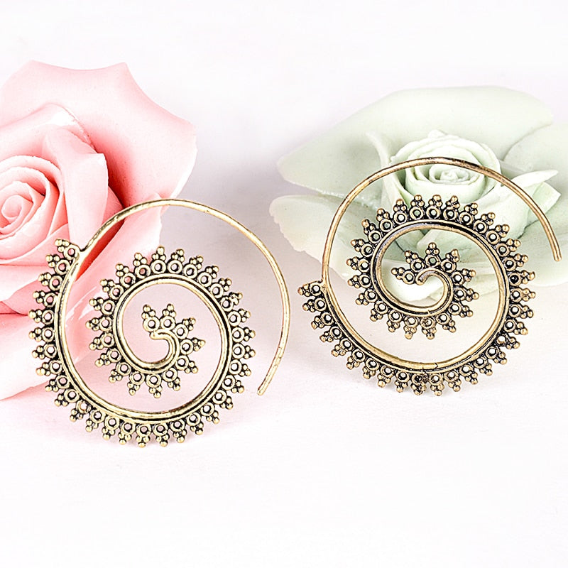 Bohemian Spiral Pierced Earrings in Bronze or Silver-tone (+ Free Song)