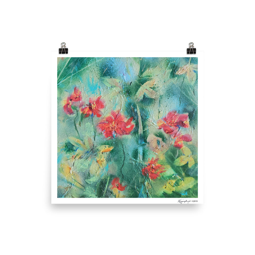 "🍂 Original Art by Nymphya Print ""Autumnal Tumble of Nasturtiums"" 12"" x 12""  on Photo Paper (matte) - The Nymphya Shop"