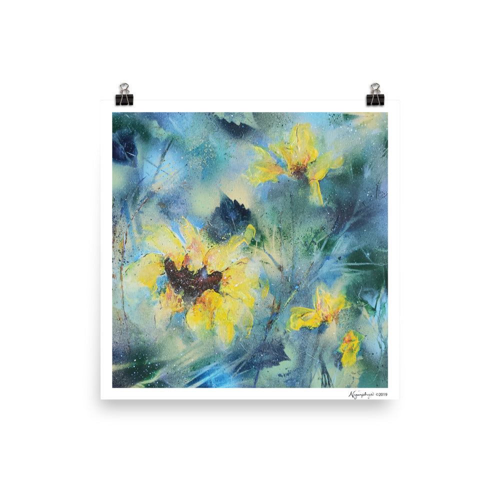 "🌻 Original Art by Nymphya Print ""Summer Light of Sunflowers"" 12"" x 12"" on Photo Paper (matte) - The Nymphya Shop"