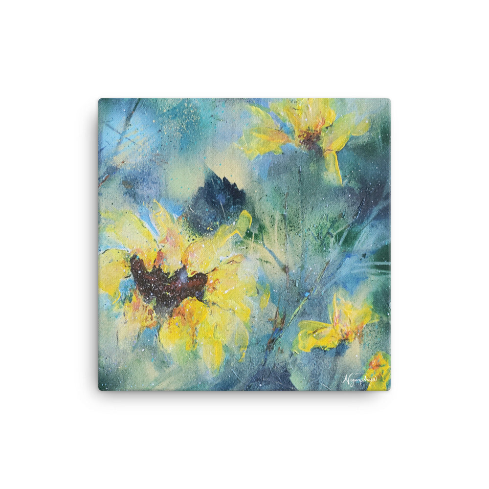 "🌻 Original Art by Nymphya ""Summer Light of Sunflowers"" 12"" x 12"" Print 🌻 on Canvas - The Nymphya Shop"