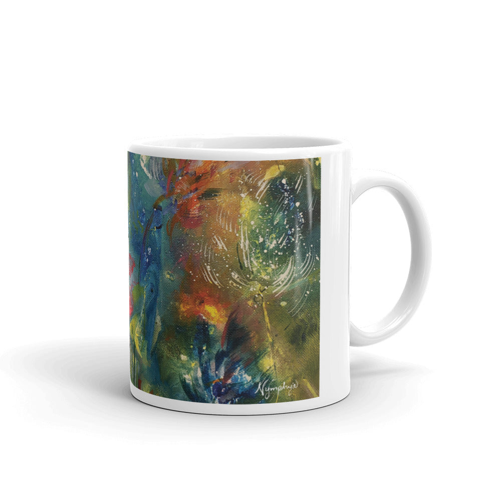 "🌺 Original Art by Nymphya ""Kaleidoscope of Spring Blooms"" Coffee Mug 🌸 - The Nymphya Shop"