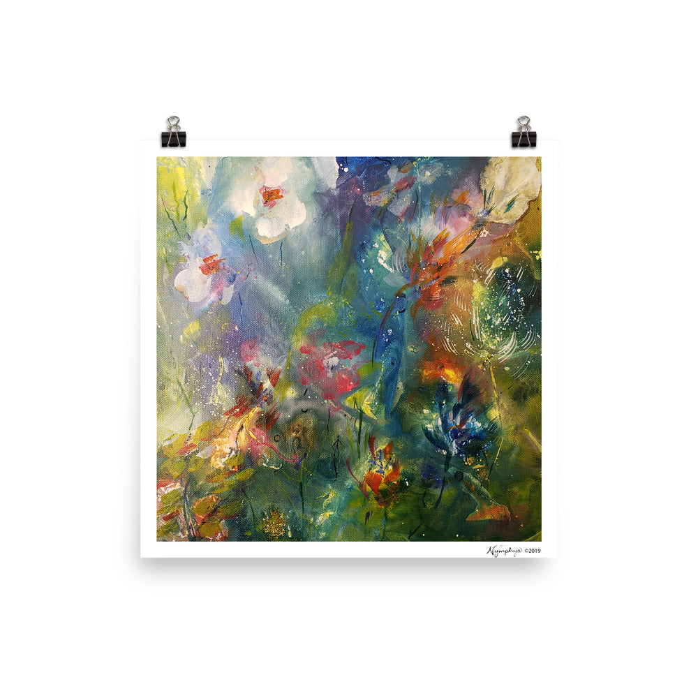 "🌺Original Art by Nymphya Print on Photo Paper (matte) Kaleidoscope of Spring Blooms 12"" x 12"" - The Nymphya Shop"
