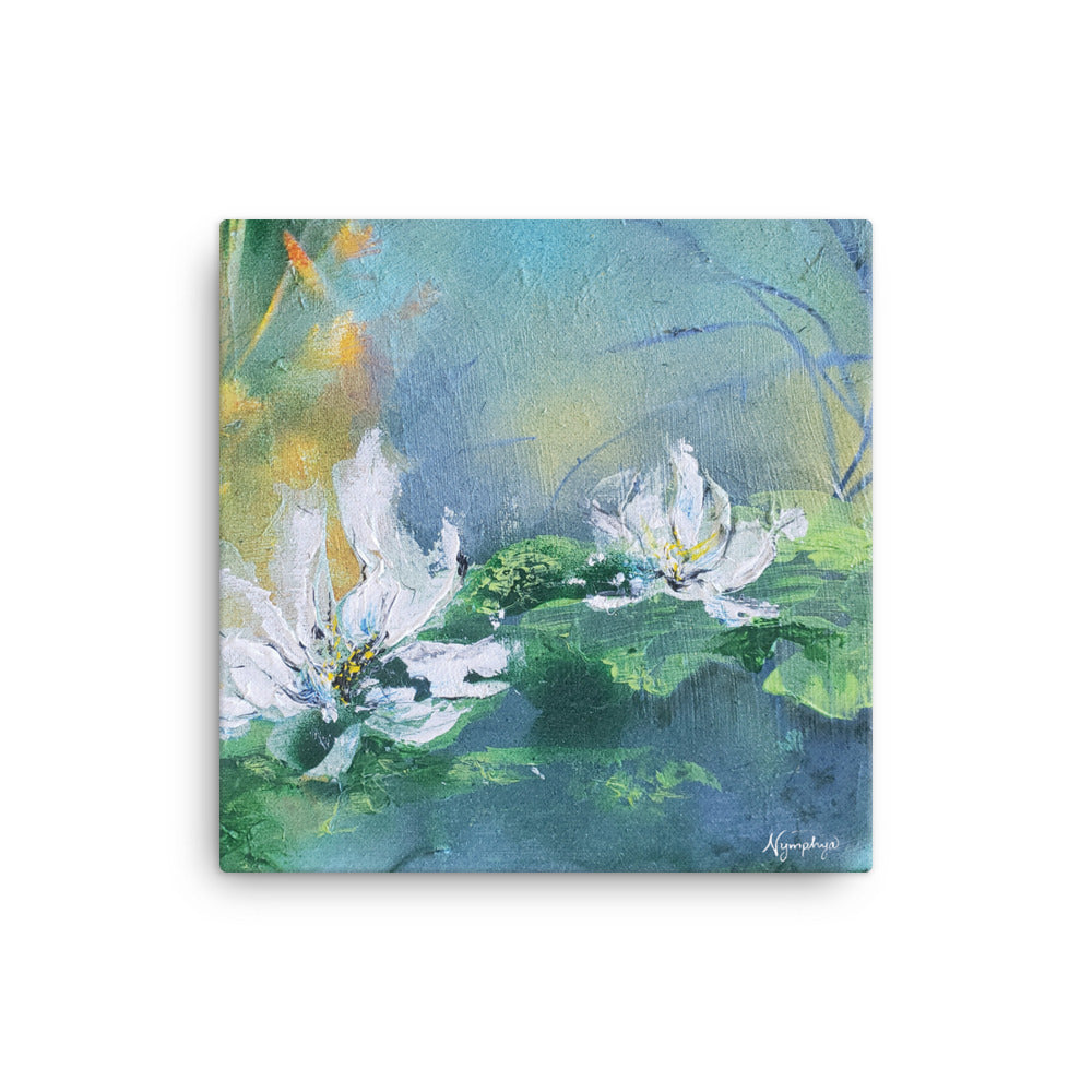 "💮 Tiffany's Winter Lilies 12"" x 12"" Original Print ❄️by Nymphya on Canvas - The Nymphya Shop"