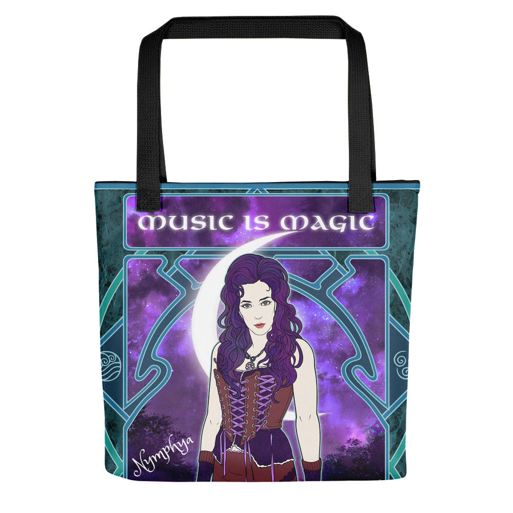 "🧙‍♀️ Nymphya Nouveau All Over Print ""Music is Magic"" Tote Bag 🧙‍♀️ - The Nymphya Shop"