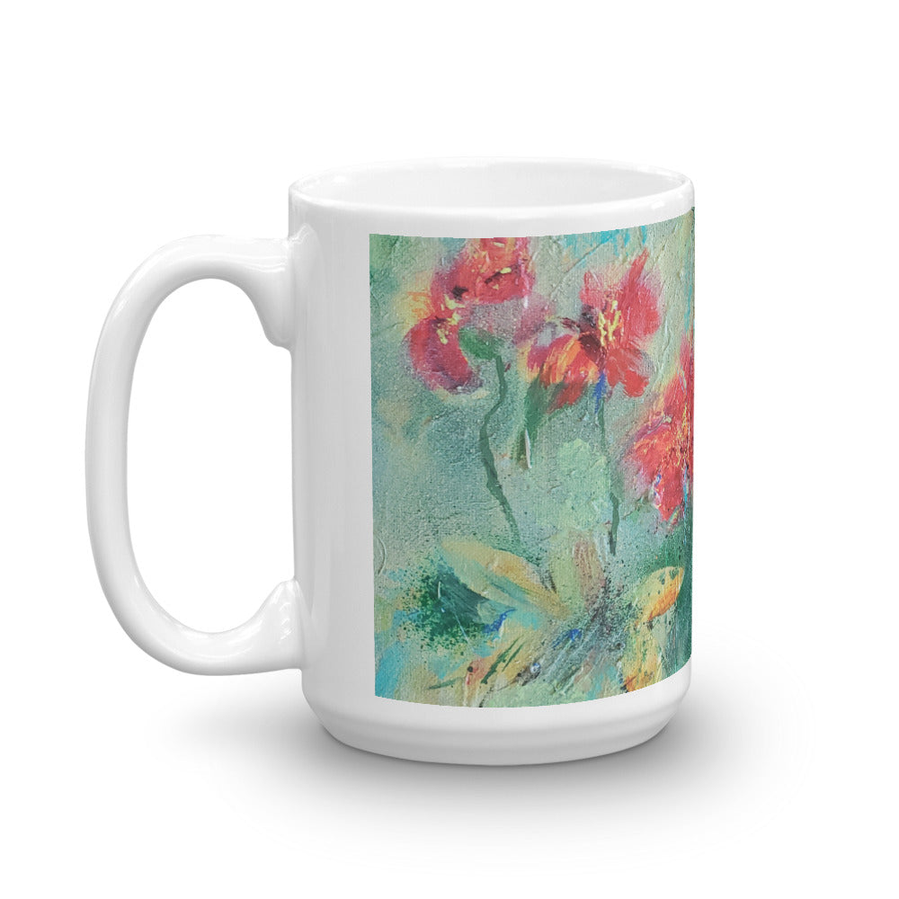 "🍂 Original Art by Nymphya ""Autumnal Tumble of Nasturtiums"" Coffee Mug 🍂 - The Nymphya Shop"