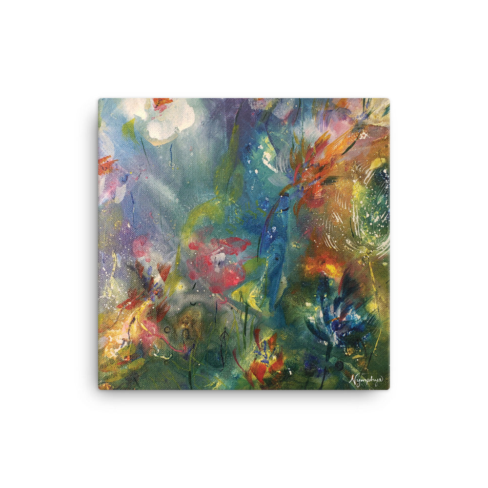 "🌺 Original Art by Nymphya ""Kaleidoscope of Spring Blooms"" 12"" x 12""  Print 🌸 on Canvas - The Nymphya Shop"