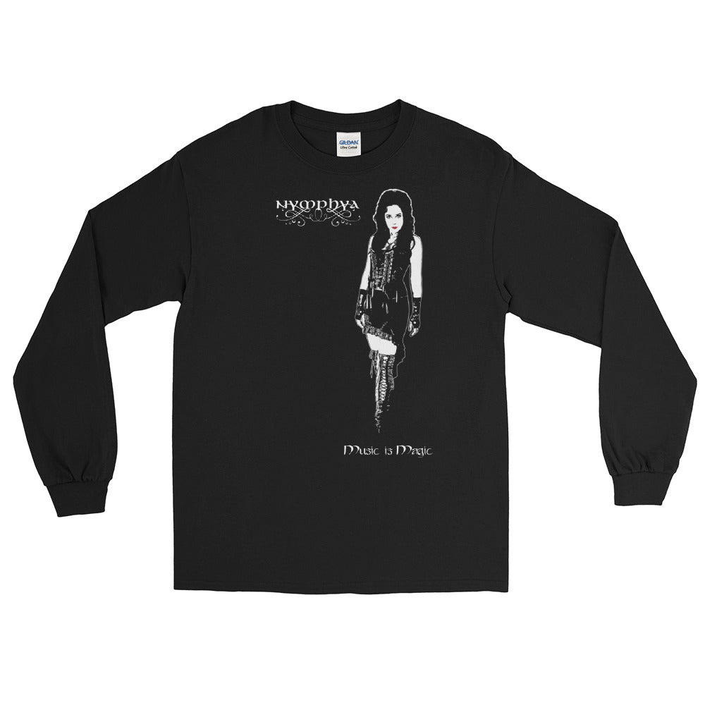 "Light on Dark 100% Cotton Unisex Long Sleeve ""Music is Magic"" T Shirt in Black"