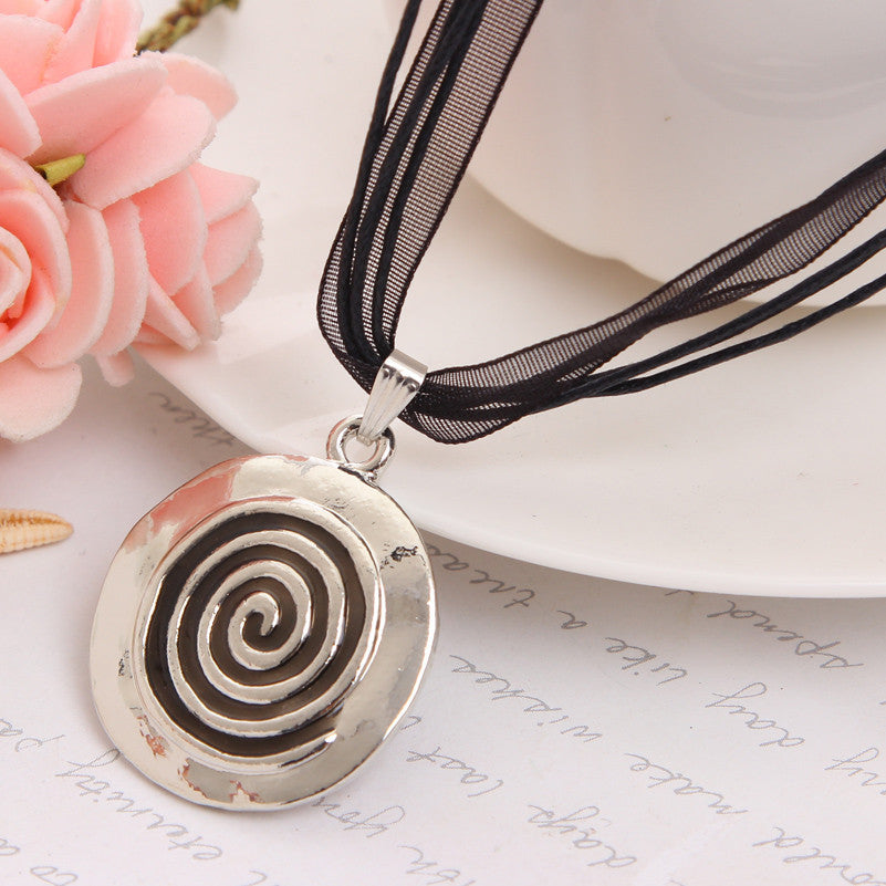 Spiral Circle Pendant Choker on Ribbon + Earrings Set (+ Free Song)