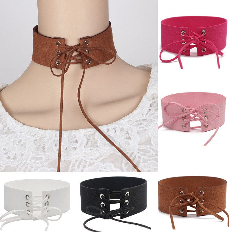 Women's Grommet /  Bohemian Choker Necklace / PU Leather Collar (+ Free Song)