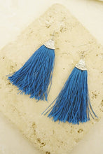Load image into Gallery viewer, Boho Turquoise Tassel Earrings