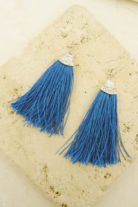 Boho Turquoise Tassel Earrings