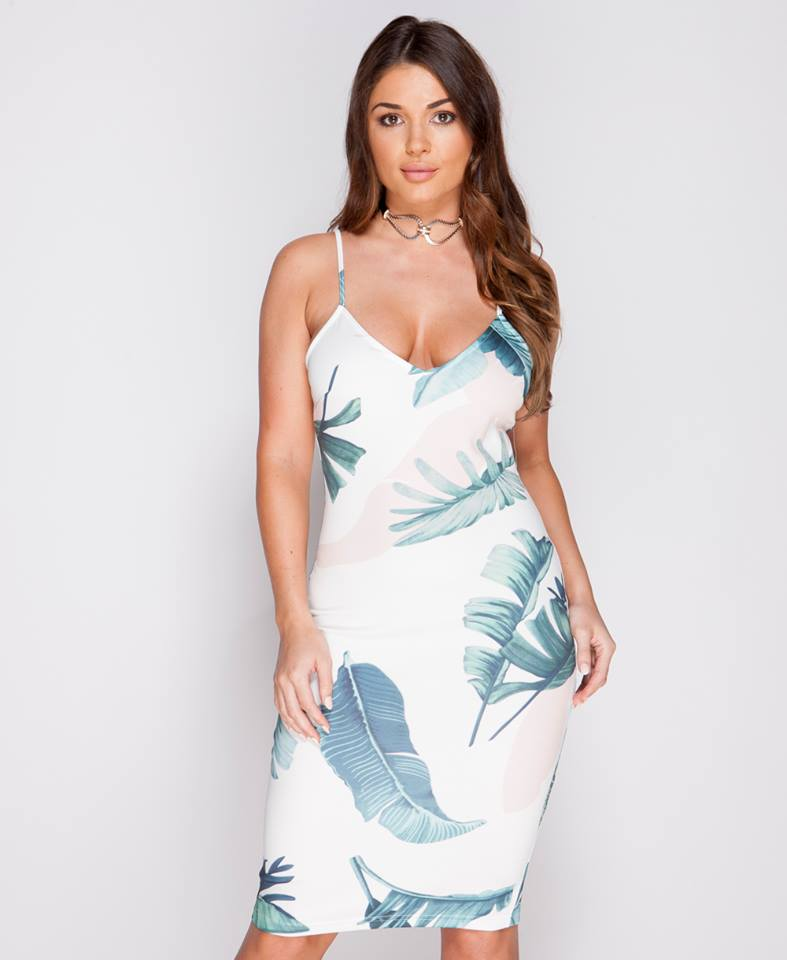 Green Paradise-Floral Bodycon Dress