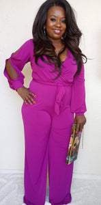 """Flare"" Jumpsuit in Magenta"