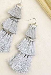 Fanned Silver Tassel Earrings