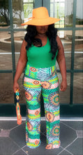 "Load image into Gallery viewer, ""Abstract"" Kelly Green Palazzo Pants"