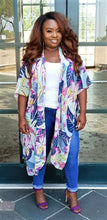 "Load image into Gallery viewer, ""Tropic"" Purple Kimono Cardigan"