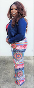 """Abstract"" Palazzo Pants in Blue"