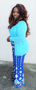 """Mint Diamonds"" Blue Palazzo Pants"