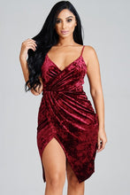 Load image into Gallery viewer, Velvet Allure-Faux Wrap Dress