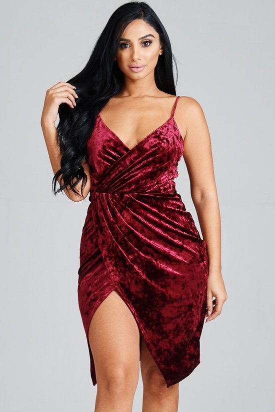 Velvet Allure-Faux Wrap Dress