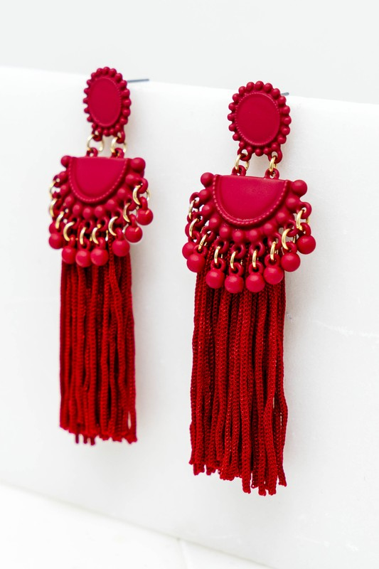 Flaming Red Tassel Earrings