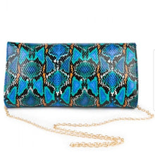 Load image into Gallery viewer, Sassy Multi Color Snakeskin Clutch