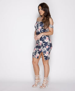 Blue Field-Floral Bodycon dress