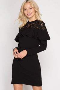 Laced Prowl-Long Sleeve Fitted Dress