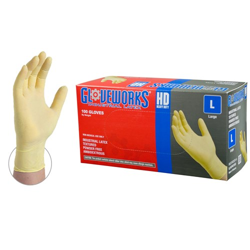 Gloveworks® HD Latex Powder Free Disposable Gloves - Pk. 100