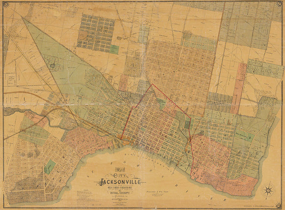 1885 Map of the city of Jacksonville Duval County Florida