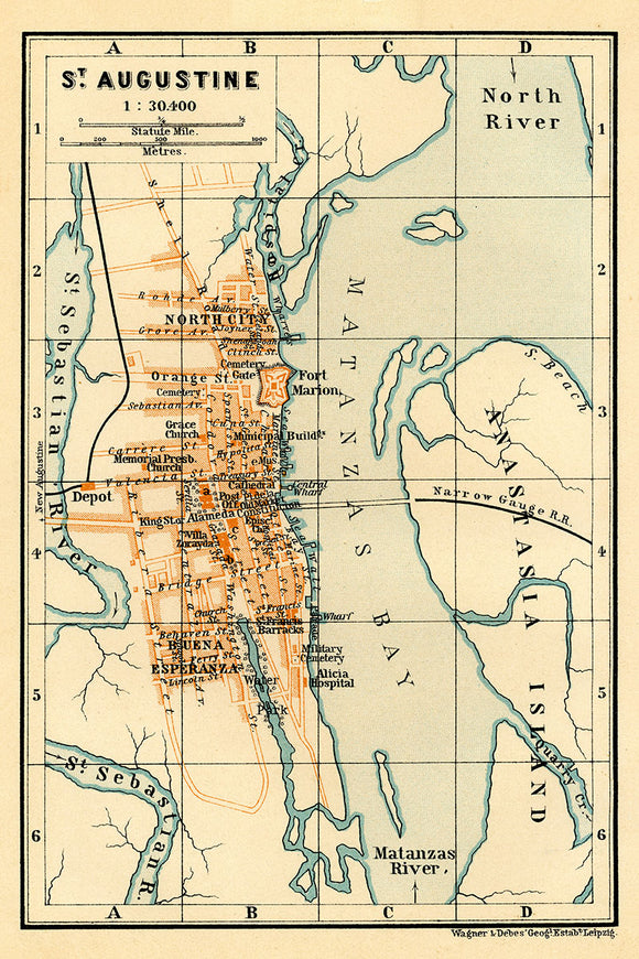 1904 Map of Saint Augustine Florida