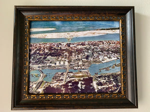 1920s Aerial Panorama of Saint Augustine Florida Colorized Framed