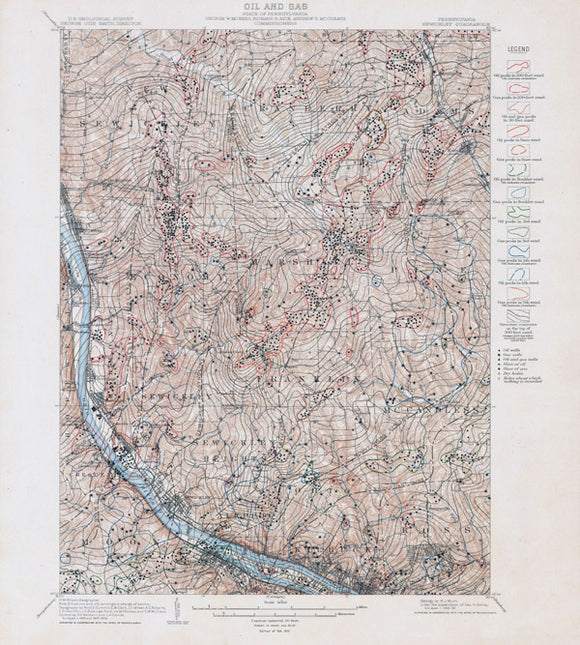1910 Oil & Gas Well Map of the Sewickley Quad Allegheny County Pennsylvania