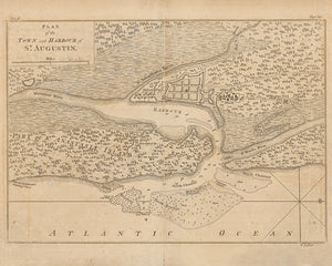 1763 Map of the town and harbour of Saint Augustine Florida