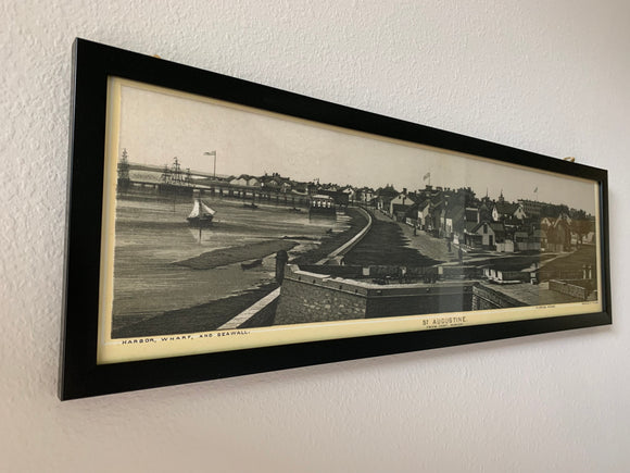 1890s Panoramic Photo of Saint Augustine FL From Fort Marion Framed