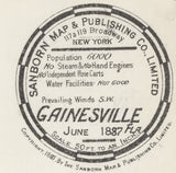 1887 Town Map of Gainesville Alachua County Florida