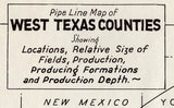 1930 Pipeline Map of West Texas Counties Midland Winkler Mitchell Upton Crockett