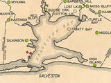1935 Map of Galveston Bay Texas Oil Fields