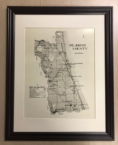 1914 Map of Saint Johns County Florida Framed Saint Augustine